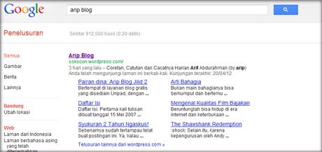 arip blog google sitelink